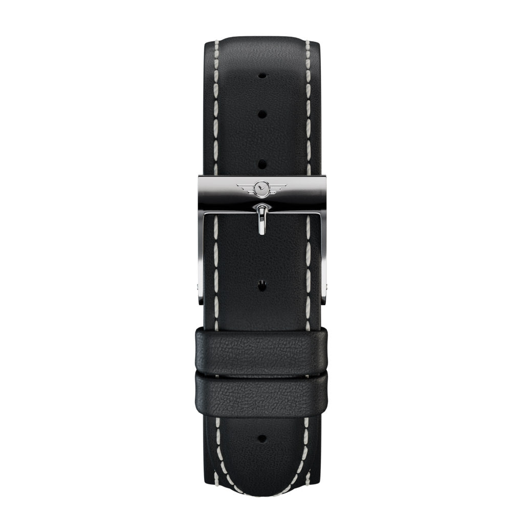 Black Leather - Silver Gloss Strap