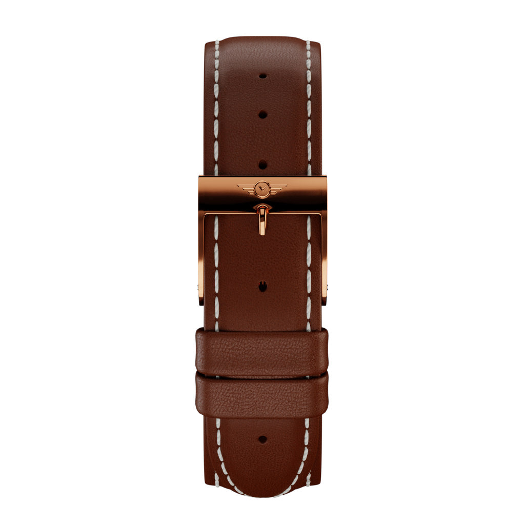 Chestnut Leather - Rose Gold Gloss Strap