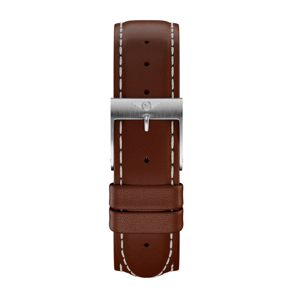 Chestnut Leather - Silver Brushed Strap