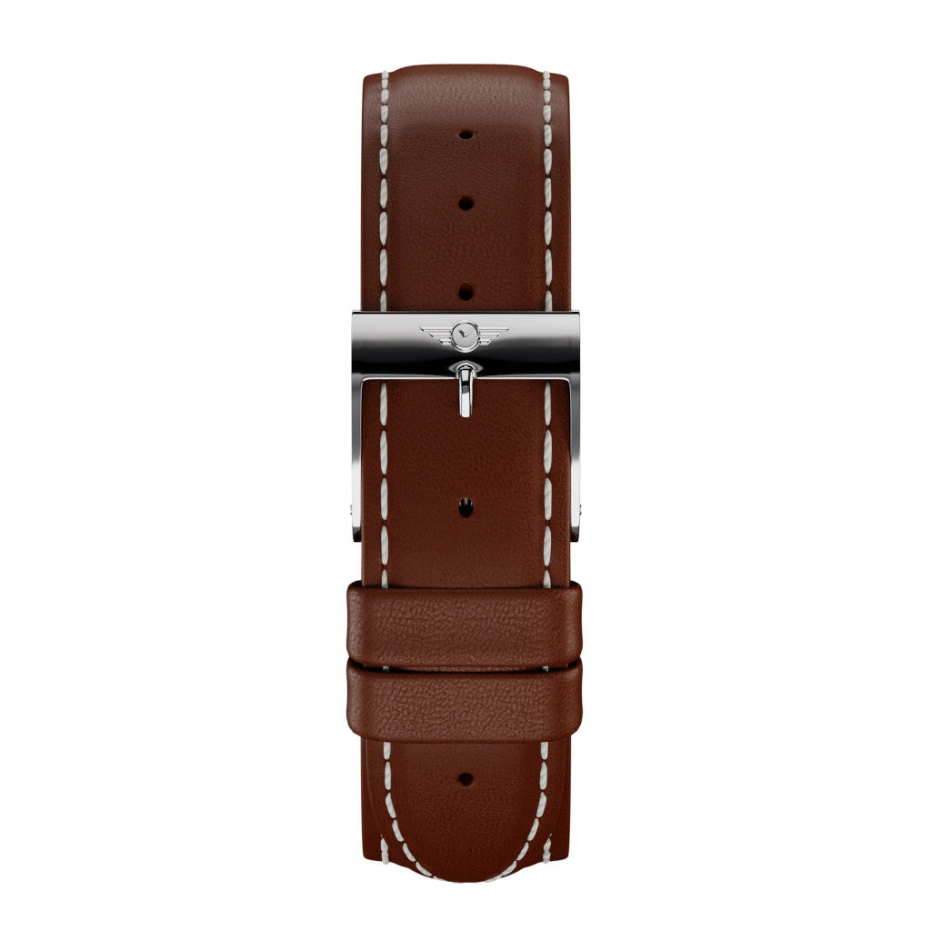 Chestnut Leather - Silver Gloss Strap