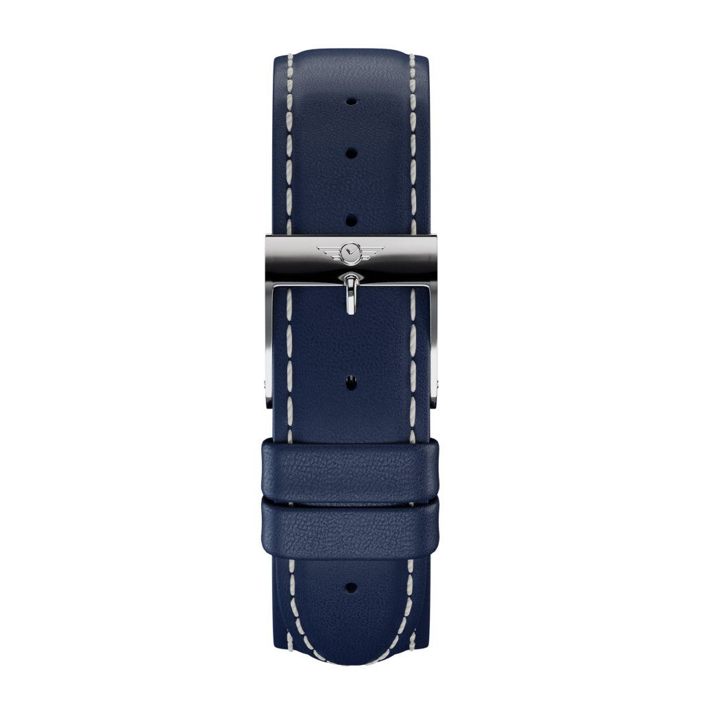Indigo Leather - Silver Gloss Strap