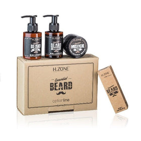H.Zone - Kit Essential Beard - (1 Beard shampoo 100ml + 1 Beard Balm 100ml + Moustache Wax 50ml + 1 Beard Oil 50ml )