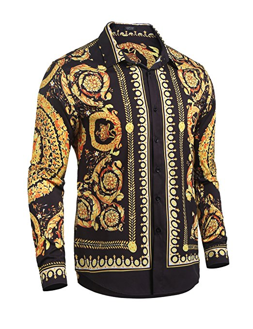 Golden Royal Pattern Long Sleeve Men Dress Shirt