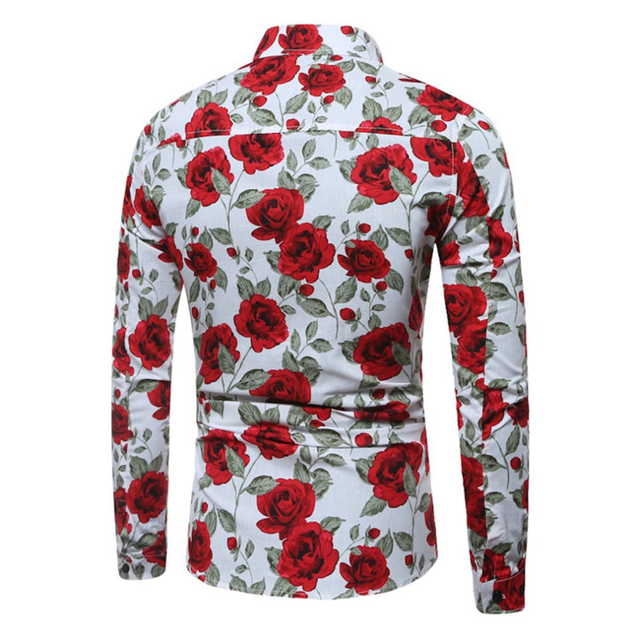 Multi White Floral Passion Fitted Men's Shirt - Versus Club Men's Clothing