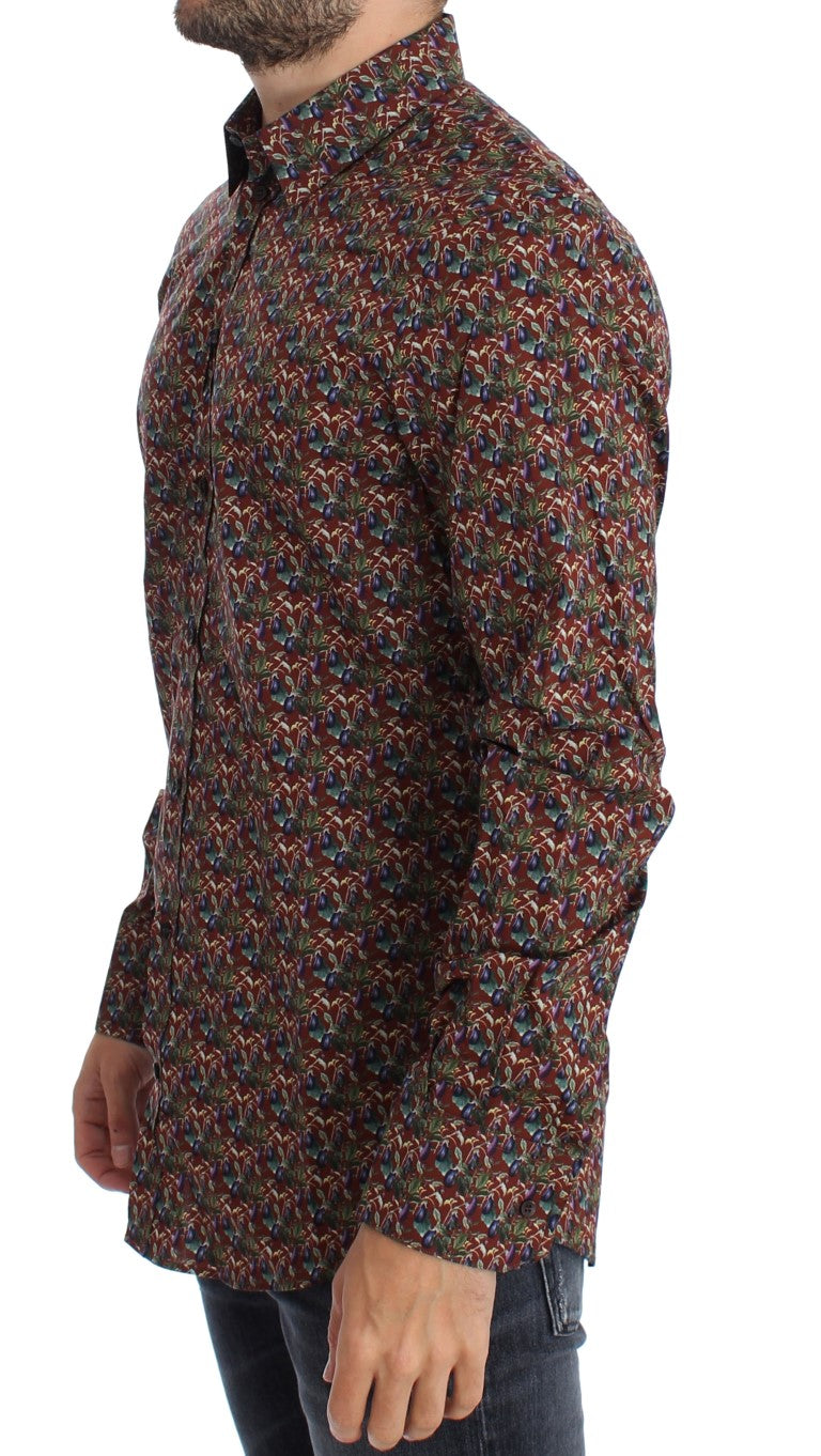 Dolce & Gabbana Red Egg Plant Print Slim Fit Casual Shirt - Versus Club Men's Clothing