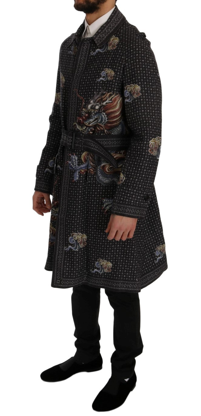 Dolce & Gabbana BLUE DRAGON PRINT TRENCH COAT - Versus Club Men's Clothing