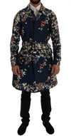 Dolce & Gabbana Blue Bird Cotton Trench Coat - Versus Club Men's Clothing