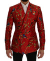 Dolce & Gabbana Red Bird Print Silk Slim Fit Blazer Jacket - Versus Club Men's Clothing