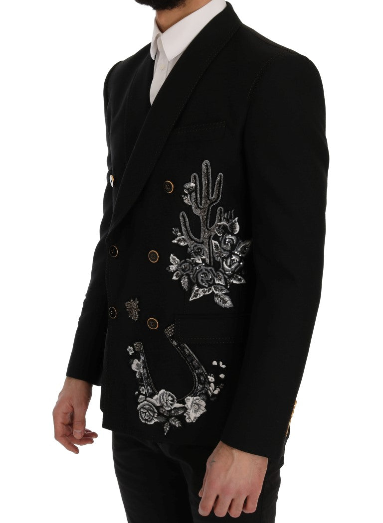 Dolce & Gabbana Black Floral Sequined Embroidery Blazer Jacket - Versus Club Men's Clothing