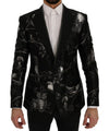 Dolce & Gabbana Black Bird Print Silk Slim Blazer Jacket - Versus Club Men's Clothing