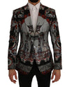 Dolce & Gabbana Multicolor Dragon Print Silk Slim Fit Blazer Jacket - Versus Club Men's Clothing