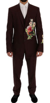 Dolce & Gabbana Bordeaux Wool 3 Piece GOLD Floral Suit - Versus Club Men's Clothing