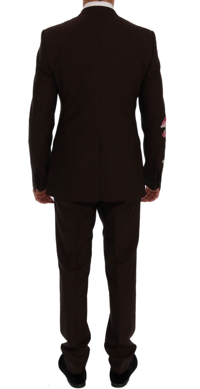 Dolce & Gabbana Bordeaux Wool Crystal Bee Floral Suit - Versus Club Men's Clothing