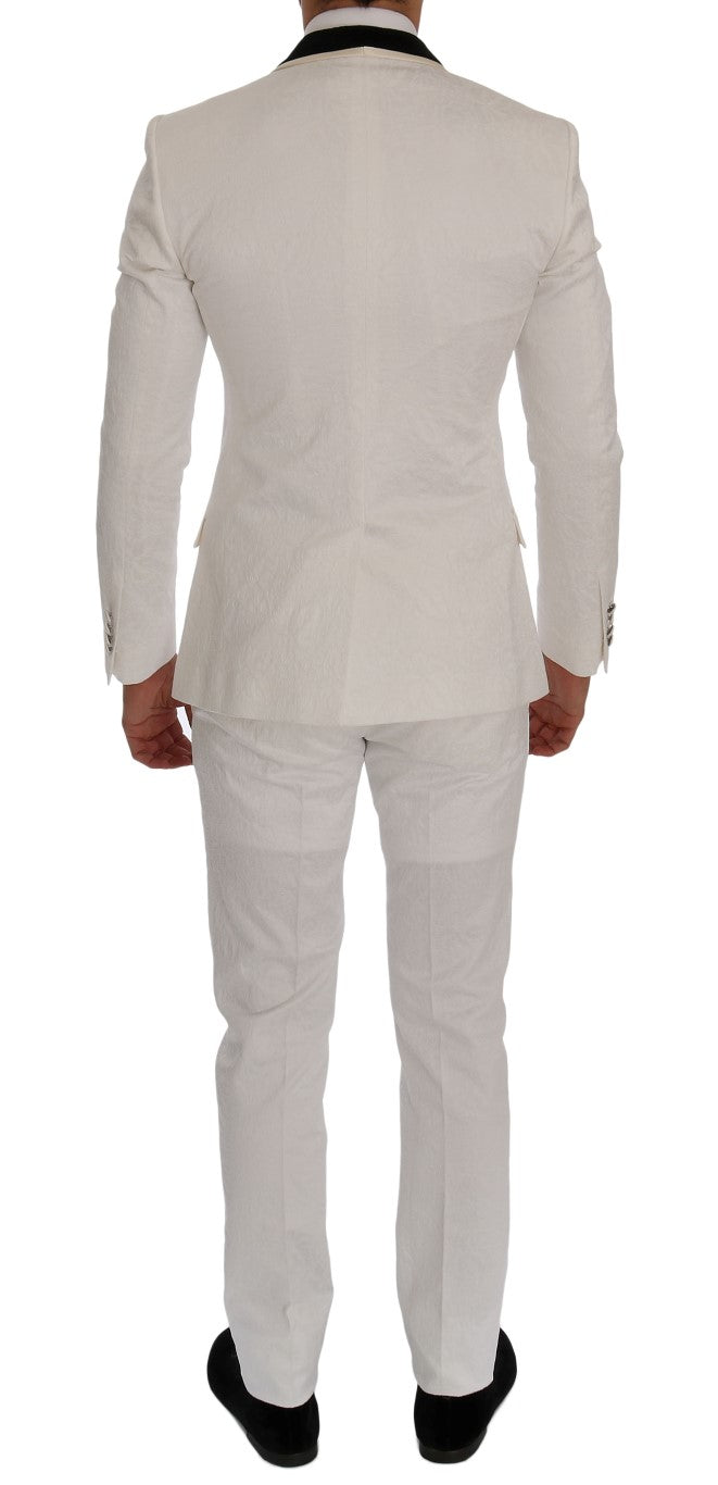 Dolce & Gabbana White Brocade Slim Fit Suit - Versus Club Men's Clothing