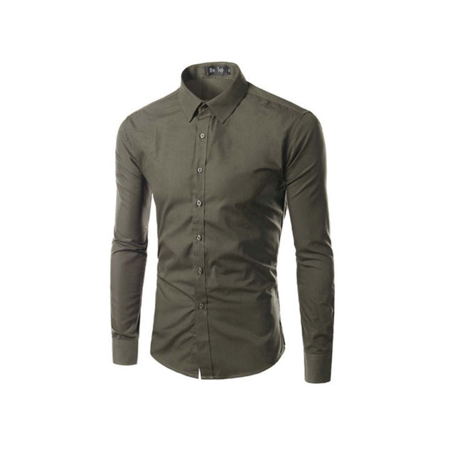 Prestige Moss Green Slim Fit Men Shirt