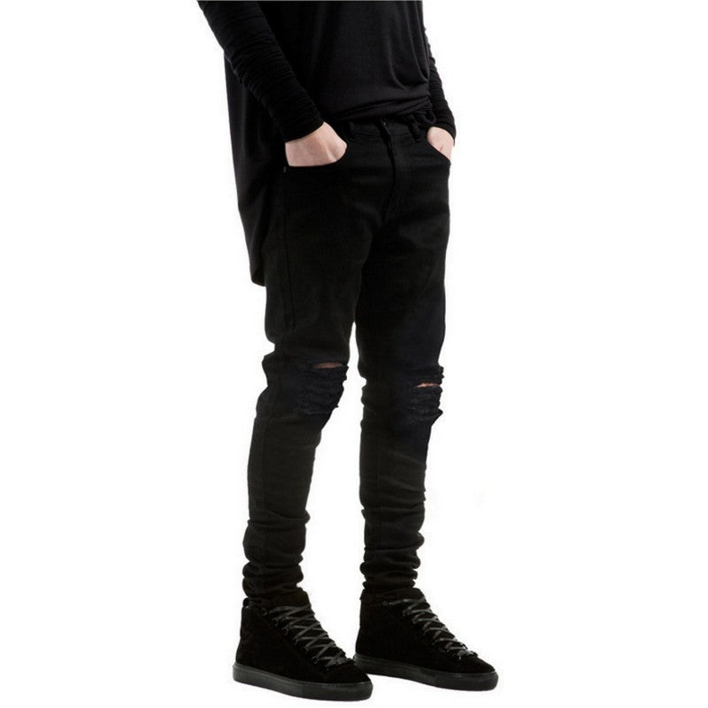 Black Ripped Slim Fit Men Skinny Jeans