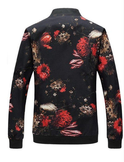 Floral Fire Slim Bomber Jacket