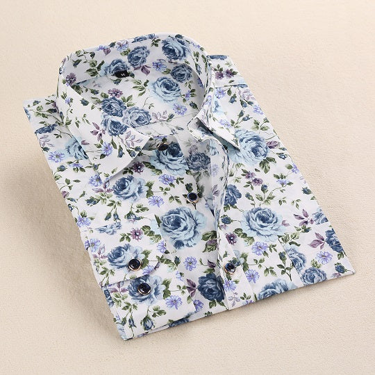 Blue Rose Print Casual Men Shirt
