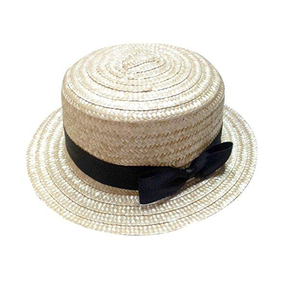 Straw Boater Hat with Black Bow Ribbon
