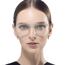 Load image into Gallery viewer, 70's Inspired Clear Lens Aviator Glasses In Silver