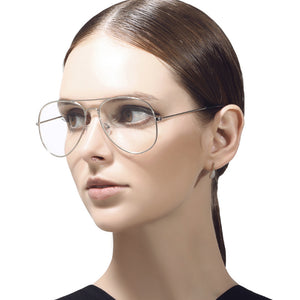 70's Inspired Clear Lens Aviator Glasses In Silver