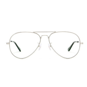 Clear Lens Aviator Glasses In Silver | ACCESSORYO