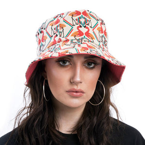 Flamingo Print Bucket Hat with Pink Lining