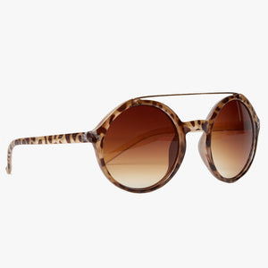 Beige Tortoiseshell Retro Sunglasses with Brown Lens - Accessory O