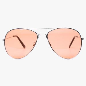 Silver Aviator Sunglasses With Orange Lens - Accessory O