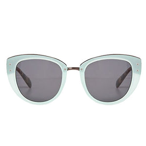 Mint Green Retro Sunglasses with Gold Bridge and Smoke Lenses