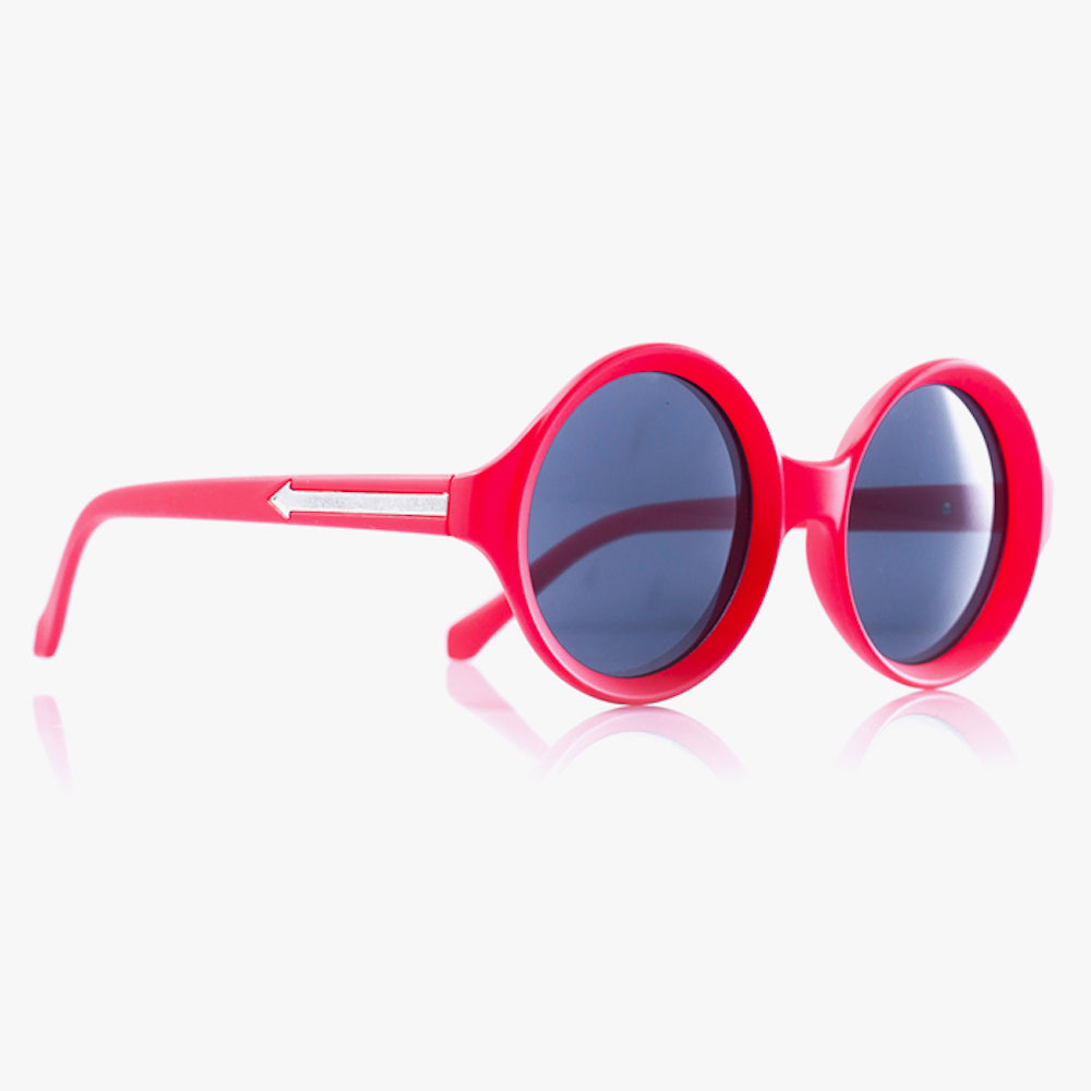 Pink Round Sunglasses With Arrow Design - Accessory O
