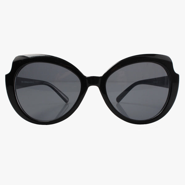 Black Cat Eye Sunglasses With Curved Brow - Accessory O