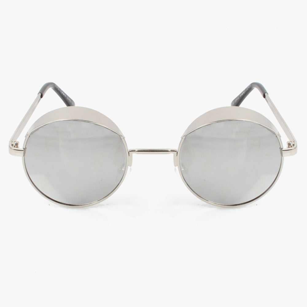 Statement Shape Silver Sunglasses With  Reflective Mirrored Circle Lens. - Accessory O