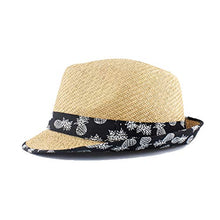 Load image into Gallery viewer, Beige Straw Hat with Pineapple Trim