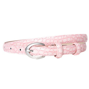 Light Pink Snakeskin Effect Skinny Belt with Silver Oval Buckle