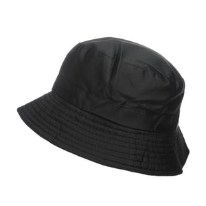 Unisex 60cm Plain Black Outdoor Shower Proof Festival Bucket Hat