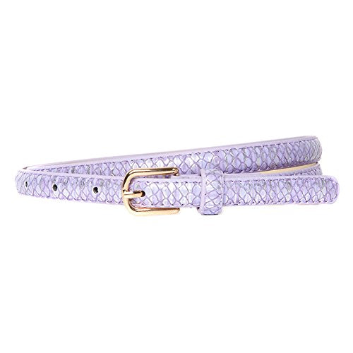 Lilac & Silver Snakeskin Effect Skinny Belt with Gold Buckle