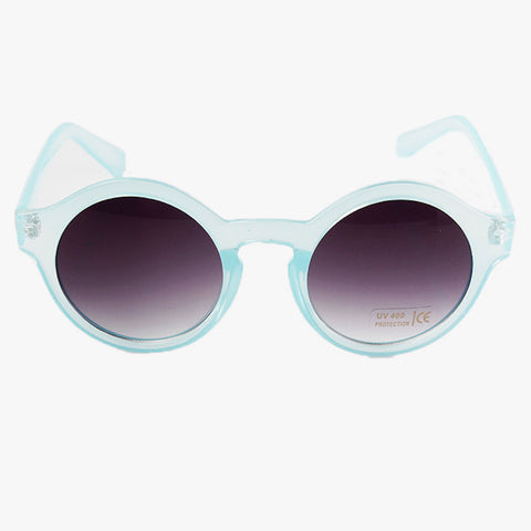 Sky Blue Transparent Round Panto Frame Sunglasses - Accessory O