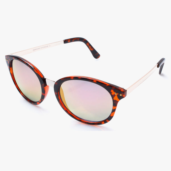 Brown Tortoiseshell Round Sunglasses With Gold Arms And Pink Lenses - Accessory O