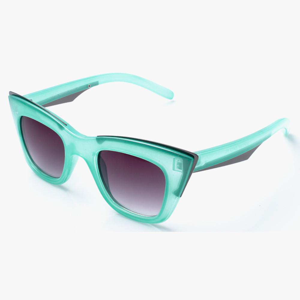 Green Angular Cat Eye Sunglasses - Accessory O
