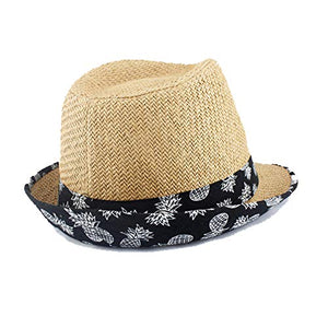Beige Straw Hat with Pineapple Trim