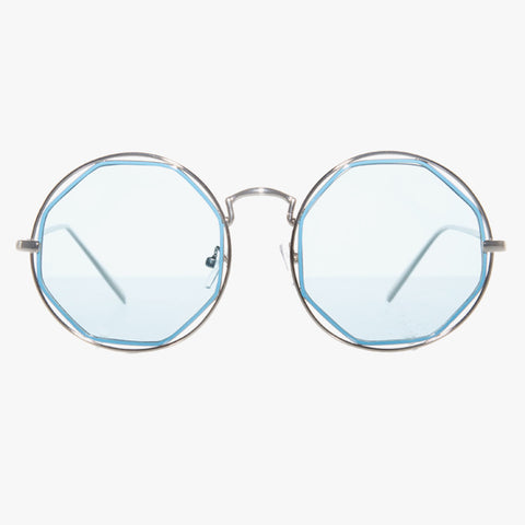 Silver Round Sunglasses With Octagon Blue Lense - Accessory O