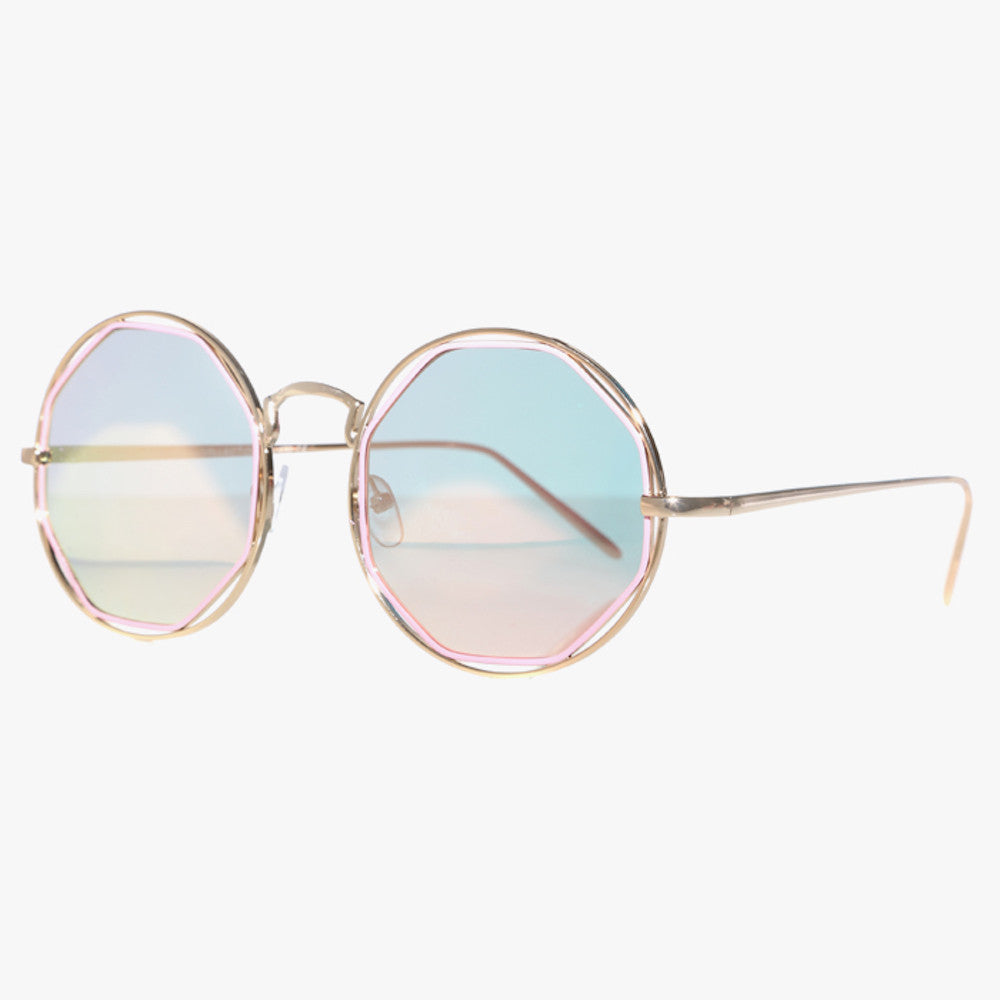 Silver Round Sunglasses With Octagon Pink Lens