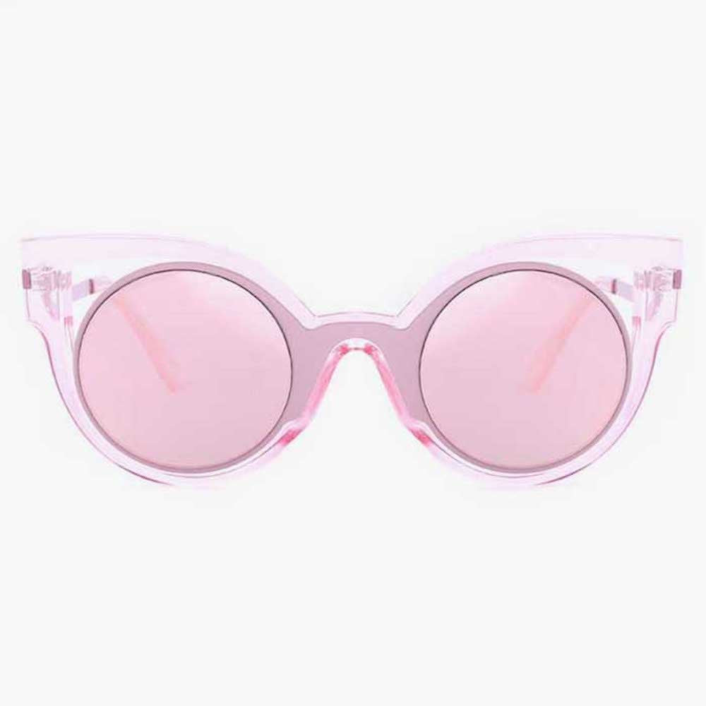 Pink Transparent Sunglasses With Round Mirrored Lens - Accessory O