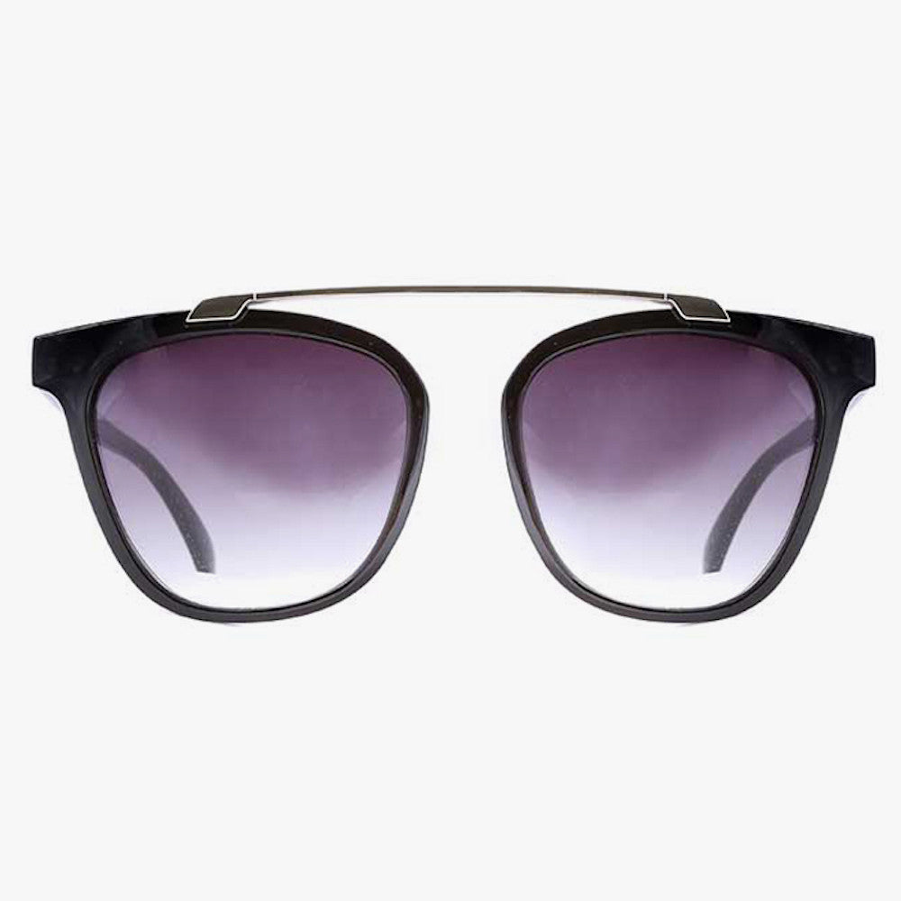Black Bridgeless Sunglasses With Silver Brow Bar - Accessory O