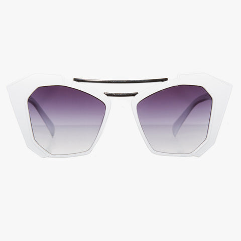 White Graphic Sunglasses With Black Brow Bar - Accessory O