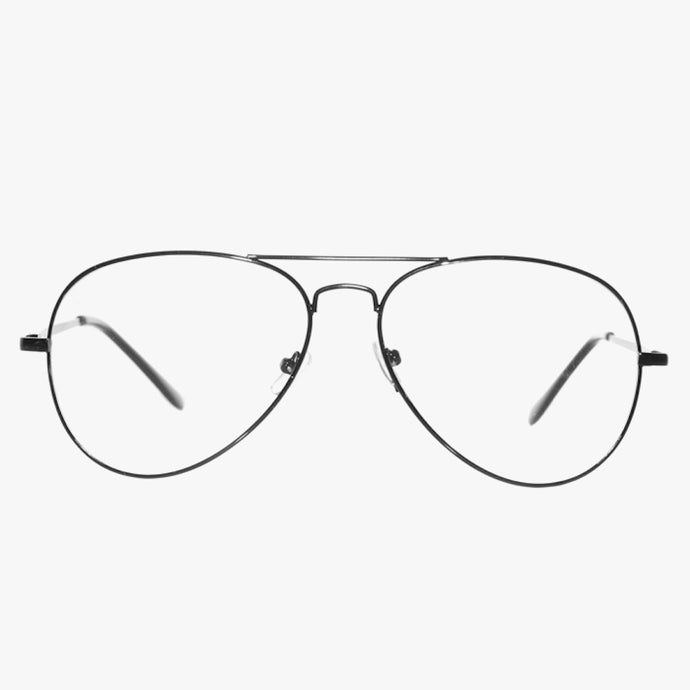70's Inspired Clear Lens Aviator Glasses In Black - Accessory O