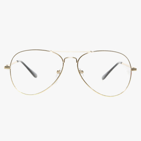 70's Inspired Clear Lens Aviator Glasses In Gold - Accessory O