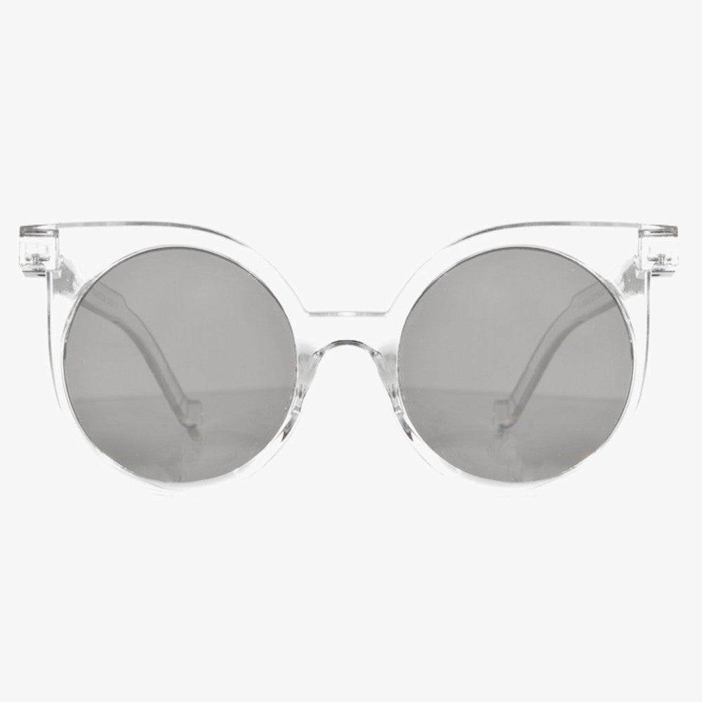 Clear Silver Sunglasses With Round Mirrored Lens - Accessory O