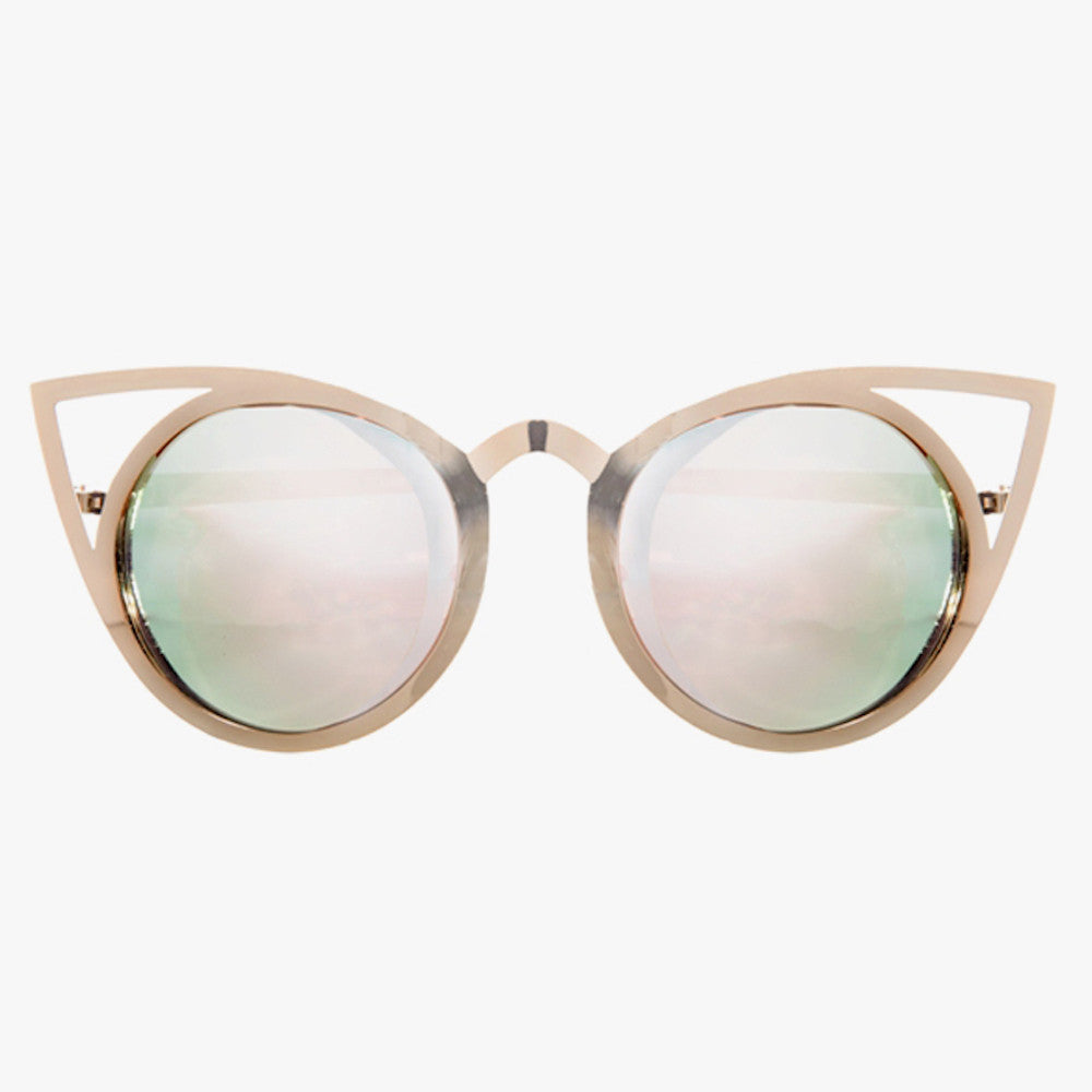 Gold Metal Sunglasses With Mirrored Lenses And Cat Eye Detail - Accessory O
